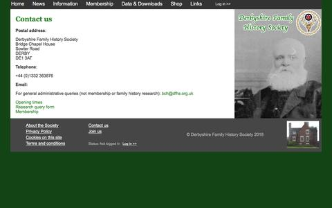 Screenshot of Contact Page dfhs.org.uk - Derbyshire Family History Society - Contact us - captured Jan. 27, 2018