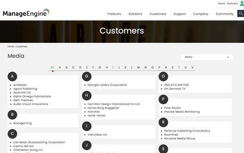 ManageEngine - Media Customers