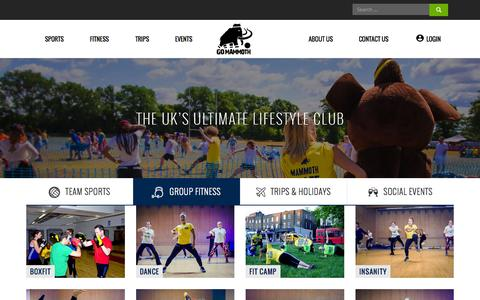 Screenshot of Home Page gomammoth.co.uk - GO Mammoth: Sports, Fitness, Trips, Events | Max Your Life! - captured Nov. 10, 2015