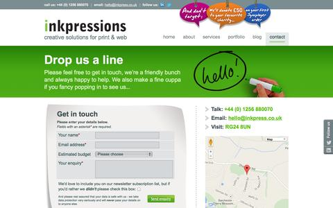Screenshot of Contact Page inkpress.co.uk - Contact Inkpressions for web and Graphic design services in Basingstoke, Hampshire - captured Oct. 6, 2014