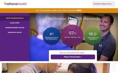 Screenshot of Landing Page athenahealth.com - Best in KLAS EHR Service | athenahealth - captured Oct. 1, 2015