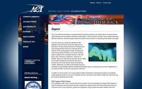 Screenshot of Support Page aci-inc.biz - Welcome to Automated Currency Instruments - captured Oct. 4, 2014