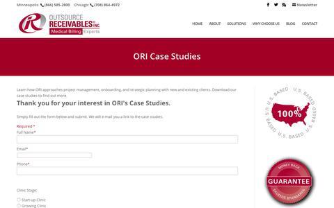 Screenshot of Case Studies Page outsourcereceivables.com - ORI Case Studies   Outsource Receivables, Inc. - captured Oct. 18, 2018