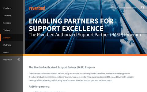 Screenshot of Support Page riverbed.com - Riverbed Support Partners (RASP) Page | Riverbed - captured March 1, 2018