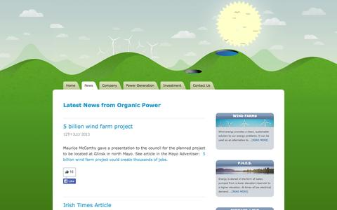 Screenshot of Press Page organicpower.ie - Organic Power -  Low Carbon Energy Renewable Sources - captured Oct. 7, 2014