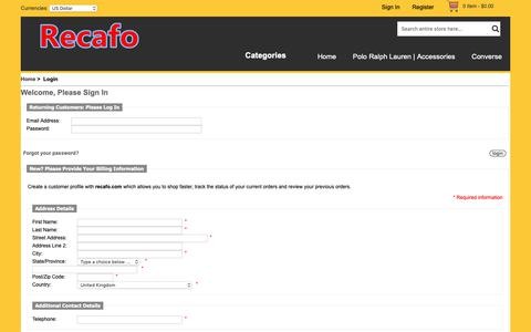 Screenshot of Login Page recafo.com - Login : Welcome to buy recafo.com Air Jordan,Nike Free   Welcome to our store,we have high quality for you - captured Oct. 19, 2018