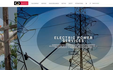 Screenshot of Home Page quantaservices.com - Quanta Services ǀ Home ǀ Leader in Electric Power, Oil & Gas Industries - captured Feb. 23, 2016