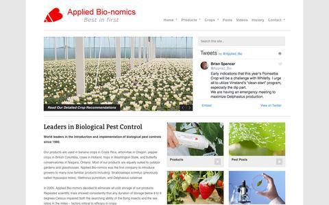 Screenshot of Home Page appliedbio-nomics.com - Welcome - Applied Bio-nomics Ltd. - captured June 30, 2018