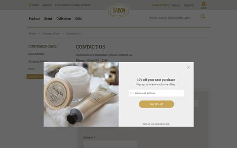Screenshot of Contact Page sabonnyc.com - Contact Us - captured July 27, 2018