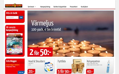 Screenshot of Home Page dollarstore.se - Start - Dollarstore - captured Sept. 19, 2014