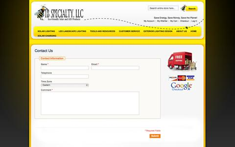 Screenshot of Contact Page 1bspecialty.com - Magento Commerce - captured Sept. 19, 2014