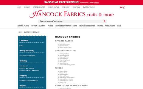 Screenshot of Site Map Page hancockfabrics.com - Sites-hkf-Site - captured Sept. 24, 2014