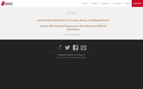 Screenshot of Press Page justicefilmfest.com - Justice Film Festival   February 23, 2014   Los Angeles, CA - captured Oct. 6, 2014