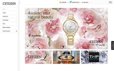 Screenshot of Home Page citizenwatches.com.au - Eco-Drive Watches, Fashion Watches, Promaster Sport Watches by Citizen | Citizen Watches Australia - captured Jan. 20, 2016