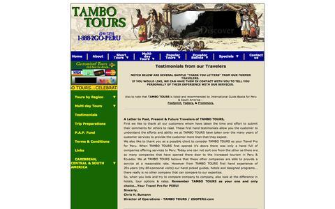 Screenshot of Testimonials Page tambotours.com - TAMBO TOURS -- Peru, Tour, Travel and Adventure Pro! - captured Oct. 7, 2014