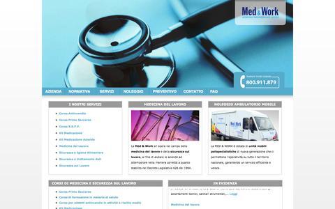 Screenshot of Home Page medwork626.it - Medicina del lavoro, sicurezza sul lavoro consulenti e rspp - Med&Work - captured Oct. 3, 2014