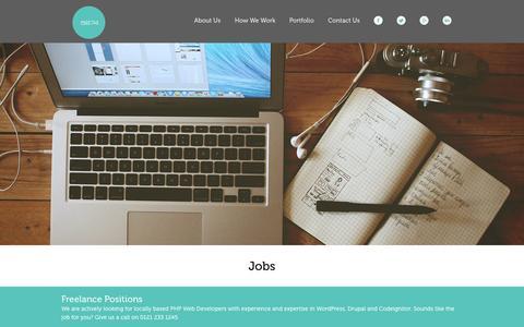 Screenshot of Jobs Page 5874.co.uk - Web, Graphic, Developer Jobs | 5874 Design | Birmingham | West Midlands | 5874 Design - captured Feb. 18, 2016