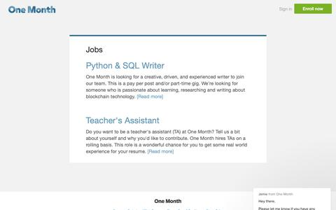 Screenshot of Jobs Page onemonth.com - Jobs | One Month - captured Feb. 11, 2019