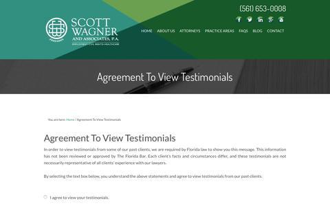 Screenshot of Testimonials Page floridalaborlawyer.com - Agreement To View Testimonials - captured Jan. 26, 2016