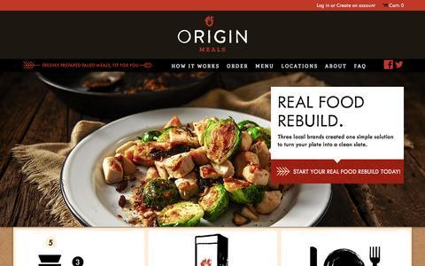 Screenshot of Home Page originmeals.com - Origin Meals - captured Sept. 30, 2014