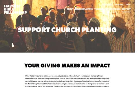 Screenshot of Support Page harvestbiblefellowship.org - Support Church Planting - Harvest Bible Fellowship - captured Dec. 7, 2015