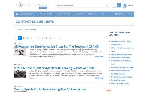 Screenshot of Press Page contactlenses.com.au - Contact Lenses News :: Buy Cheap Contact lenses Online in Australia - captured Dec. 1, 2018
