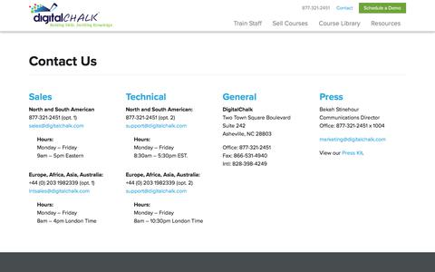 Screenshot of Privacy Page Contact Page digitalchalk.com - Contact Us - captured June 28, 2018