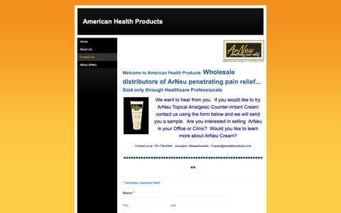 Screenshot of Contact Page ahealthproducts.com - Contact Us - American Health Products - captured Oct. 3, 2018