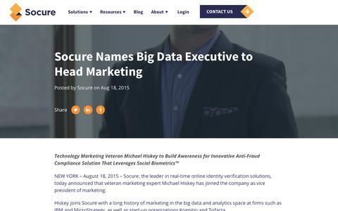 Screenshot of Press Page socure.com - Socure Names Big Data Executive to Head Marketing - captured Oct. 18, 2019