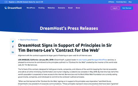 Screenshot of Press Page dreamhost.com - DreamHost Signs in Support of Principles in Sir Tim Berners-Lee's 'Contract for the Web'  – DreamHost - captured Feb. 21, 2020