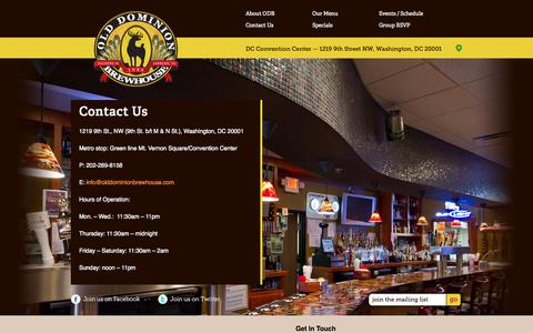 Screenshot of Contact Page olddominionbrewhouse.com - ODB - captured Oct. 26, 2014
