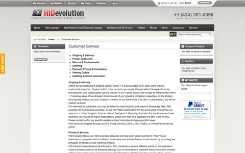 Screenshot of Support Page hidevolution.com - Customer Service - captured Sept. 19, 2014