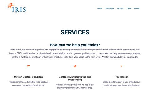 Screenshot of Services Page irisdynamics.com - Services – Iris Dynamics Ltd. - captured Oct. 12, 2018