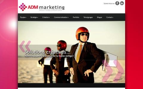 Screenshot of Home Page adm-marketing.ca - ADM-Marketing   Solutions Créatives - captured Sept. 30, 2014