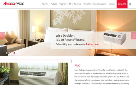 Screenshot of Home Page amana-ptac.com - Amana-PTAC Heating and Air Conditioning Solutions - captured March 2, 2018