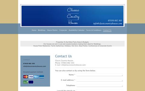 Screenshot of Contact Page classiccountryhouses.com - Classic Country Houses - Contact Us - captured July 13, 2016