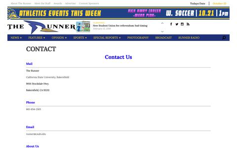 Screenshot of About Page therunneronline.com - Contact - captured Oct. 22, 2018