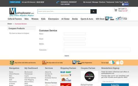 Screenshot of Support Page myshopbazzar.com - Customer Service - captured Sept. 1, 2016