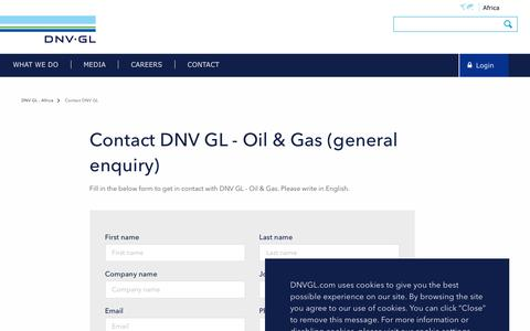 Screenshot of Contact Page dnvgl.com - Contact DNV GL - Oil&Gas - DNV GL - captured Dec. 7, 2019