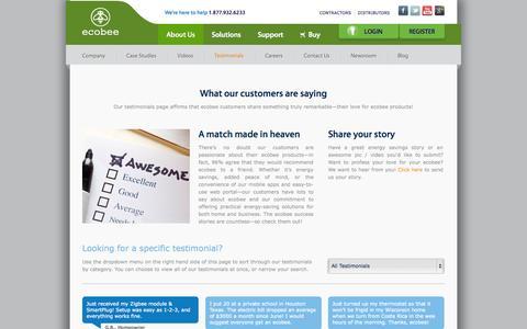 Screenshot of Testimonials Page ecobee.com captured Sept. 15, 2014