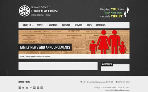 Screenshot of Press Page cocbrownstreet.org - Family News and Announcements – Brown Street Church of Christ - captured Oct. 6, 2018