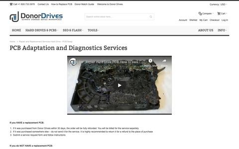 Screenshot of Services Page donordrives.com - Repair and Replacement Services Hard Drive - PCB Swap - captured Dec. 16, 2018
