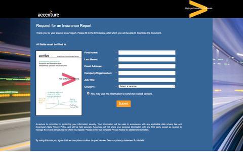 Screenshot of Landing Page accenture.com - Request Insurance Report - captured July 1, 2017