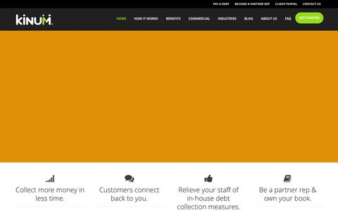 Screenshot of Home Page kinum.com - A Smarter Debt Collection Agency | Kinum - captured Jan. 9, 2016