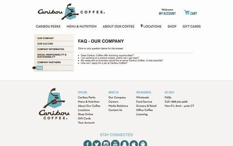Screenshot of FAQ Page cariboucoffee.com - FAQ - Our Company - captured Jan. 4, 2018