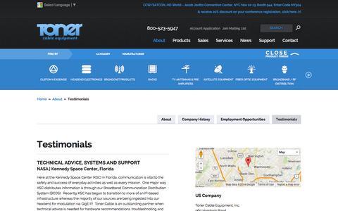 Screenshot of Testimonials Page tonercable.com - Toner Cable Equipment Testimonials, Testimonials for Toner Cable | Toner Cable - captured Oct. 7, 2014