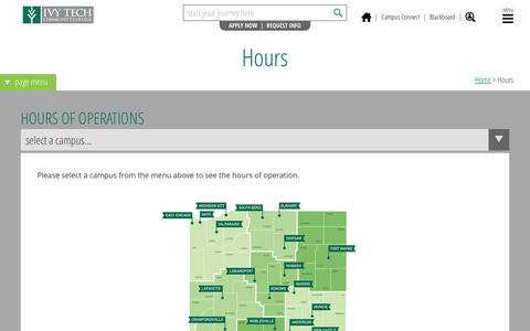 Screenshot of Hours Page ivytech.edu - Hours - Ivy Tech Community College of Indiana - captured Feb. 11, 2016