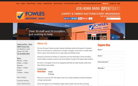 Screenshot of About Page fowles.com.au - About Us - Carpet | Discount Carpet | Floating Floor | Timber Flooring | Cheap Carpet Melbourne - captured Sept. 3, 2016