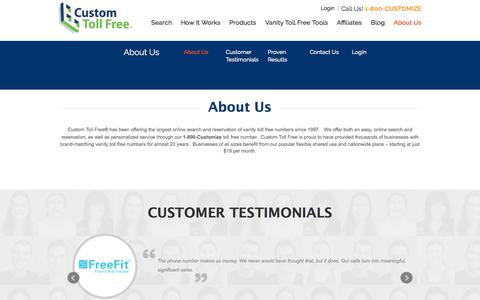 Screenshot of Contact Page customtollfree.com - About Us - Custom Toll Free - captured July 24, 2018