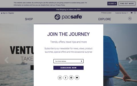 Screenshot of Home Page pacsafe.com - Anti-Theft Travel Bags, Backpacks and More by Pacsafe - captured May 13, 2017